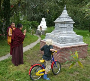 H.E. Jetzün Kuchog blessing the small Stupa